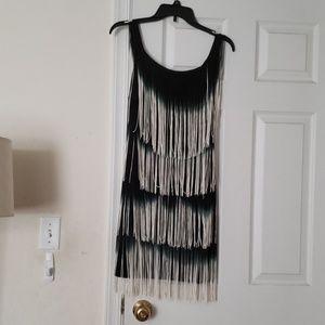 NWOT Boston Proper Fringe Black Dress